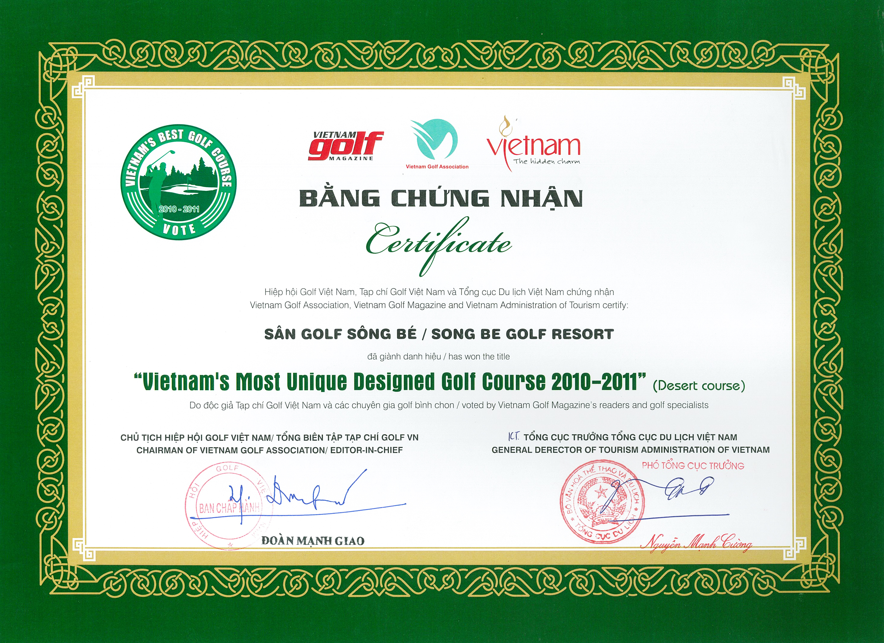 Song Be Golf Resort is honoured to be Awarded The Binh Duong Green ...